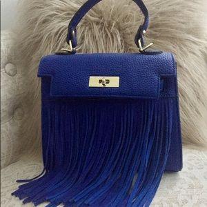 Handbags - Blue Fringe Handbag